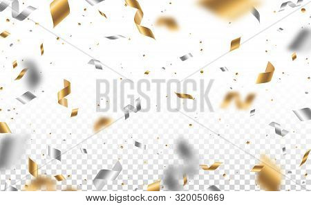 Falling Shiny Golden And Silver Confetti And Pieces Of Serpentine Isolated On Transparent Background