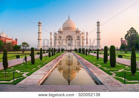 Taj Mahal Is A White Marble Mausoleum On The Bank Of The Yamuna River In Agra City, Uttar Pradesh St