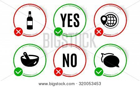 Brandy Bottle, World Travel And Cooking Mix Icons Simple Set. Yes No Check Box. Talk Bubble Sign. Wh