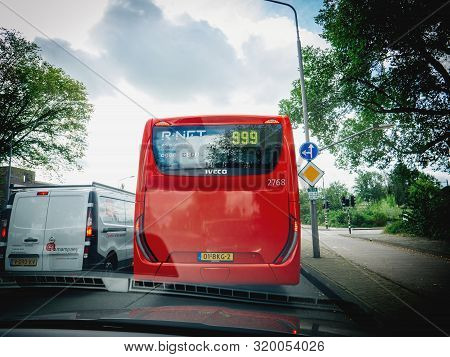 Haarlem, Netherlands - Aug 29, 2019: View From The Car At The R-net Public Transportaiton System Red