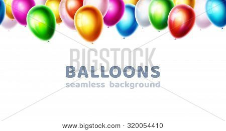 Color Glossy Vector Balloons Isolated On White Background. Birthday Party, Event Celebration Banner.