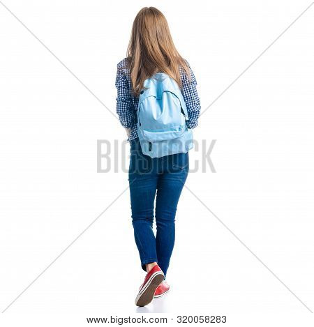 Woman In Casual Clothing Student With Backpack Looking Goes Walking On White Background Isolation, B