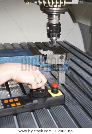 industrial workplace with millcut machine including milling head controller and working hand poster