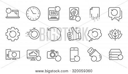 Recovery line icons. Backup, Restore data and recover file. Laptop renew, drive repair and phone recovery icons. Linear set. Quality line set. Vector poster