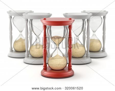 Leadership And Competition Concept With Hourglass And Leaking Sand - 3d Illustration