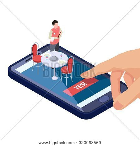 Online Table In Restaurant Or Cafe Reservation With Mobile App Isometric Concept. Cafe Reservation T