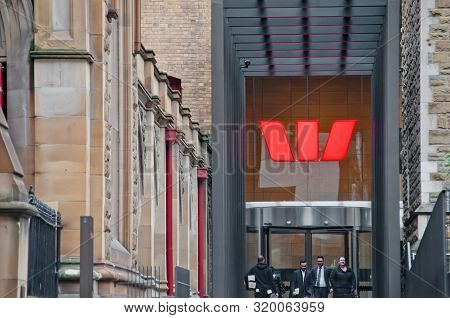 Melbourne, Australia - July 26, 2018: Business People Walking In Front Of Westpac Bank In Melbourne
