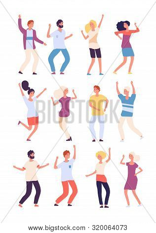 Cartoon Dancing People. Happy Persons Dance, Adults Woman And Man Dancers. Party Crowd Fun Isolated