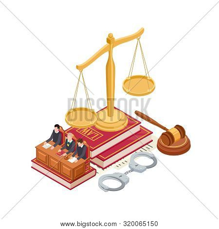 Isometric Law And Justice Vector Concept. 3d Scale Of Justice, Mallet, Law Book And Judge Isolated O