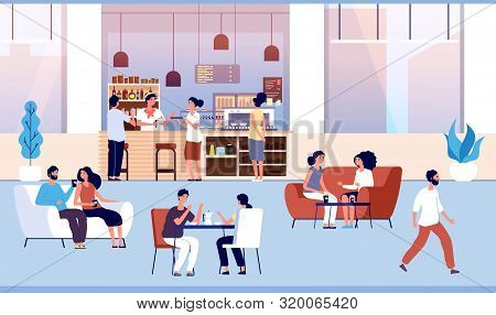 People In Coffee Shop. Friends Drink Coffee With Pastry In Coffeehouse. Persons Meeting In Cafe Vect