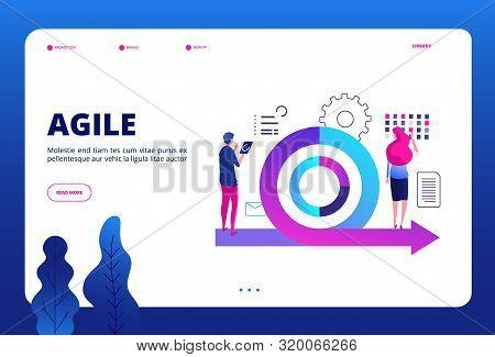 Agile Concept. Vector Agile Management Landing Page. Business Meeting, Planning Illustration. Agile