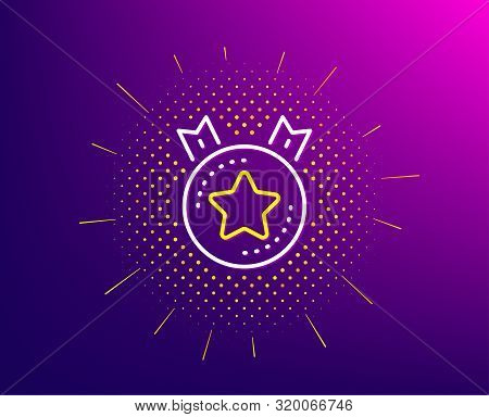 Ranking Star Line Icon. Halftone Pattern. Winner Medal Sign. Best Rank Symbol. Gradient Background.