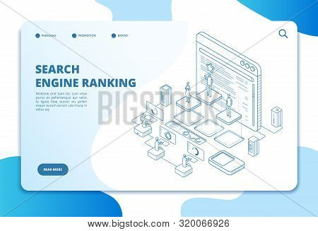 Search Engine Ranking Landing Page. Seo Marketing And Analytics, Online Ranking Result. Internet Str