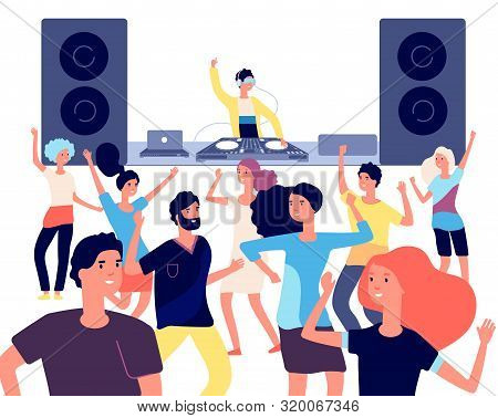 People On Dance Floor. Dancing People, Young Dancers Enjoying In Disco Club Party With Dj. Nightlife