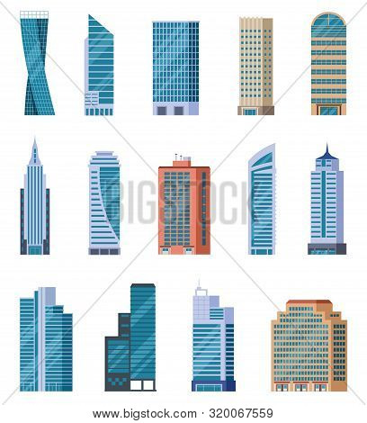 Flat Skyscrapers. Exterior Of Modern City Buildings. Residential And Business Office Houses. Downtow