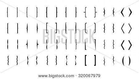 Bracket Vector Icons. Curly Line Brackets Typography Symbols Set. Bracket And Parenthesis, Mathemati