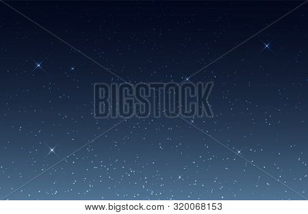Starry Sky. Night Sky With Shining Stars. Cosmos, Universe Vector Background. Space Sky Night, Starl