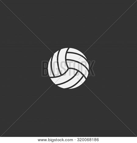 Volleyball Ball Simple White Icon On Dark Background. Sports Play Ball For Volleyball Vector Symbol.