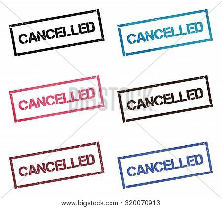 Cancelled Rectangular Stamp Collection. Textured Seals With Text Isolated On White Backgound. Stamps