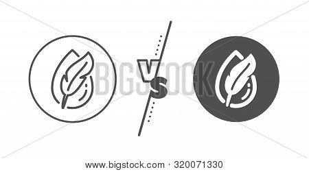 Feather Sign. Versus Concept. Hypoallergenic Tested Line Icon. No Synthetic Symbol. Line Vs Classic