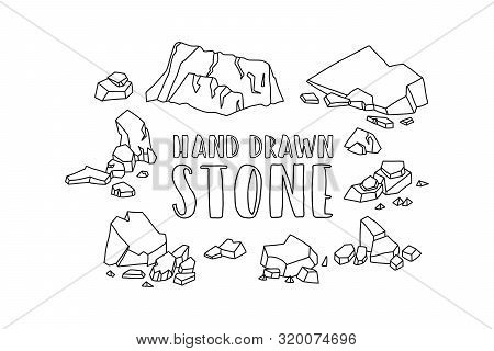 Advertising Poster Inscription Hand Drawn Stone. Groups Small And Large Stones. Cobblestones Differe