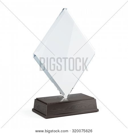 Prize award with blank glass or acrilic nameplate isolated on white background. 3d rendering