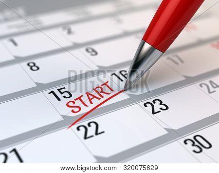 Pen writing word Start on a calendar - beginning of a new, startup concept. 3d rendering