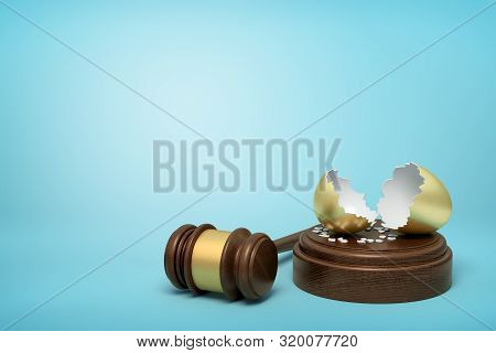 3d rendering of broken golden eggshell on round wooden block and brown wooden gavel on blue background poster