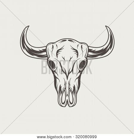 Bull Skull Vintage Engraved Monochrome Logo. Vector Illustration