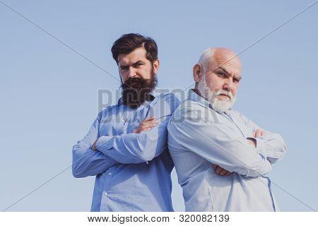 Men Generation. Family Generation: Future Dream And People Concept. Male Multi Generation Family. Ma