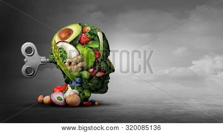 Vegan Diet And Mental Function Concept As A Psychiatric Or Psychiatry Symbol Of The Effects On The B