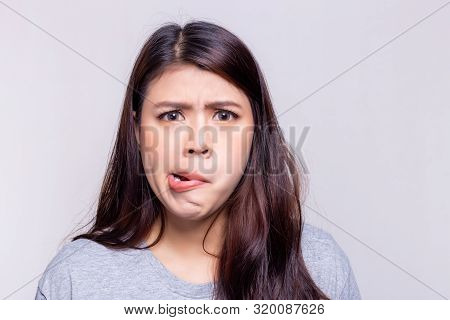 Expression Concept. Beautiful Woman Is Facial Palsy When She Wake Up In The Morning. She Does Not Kn