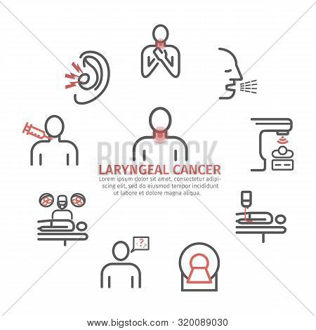 Laryngeal Cancer Banner. Symptoms, Causes, Treatment. Line Icons Set. Vector Signs For Web Graphics.