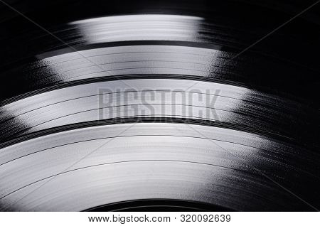 Beautiful Vinyl Record. Group Of Black Vintage Records. Stylish Musical Records.