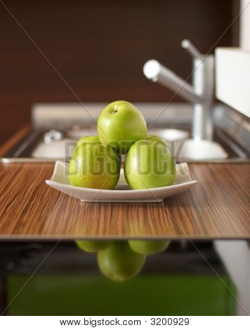Green Tasty Apples On Table