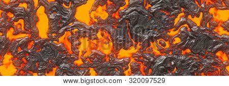 3D Illustration. Volcano- Background Magma