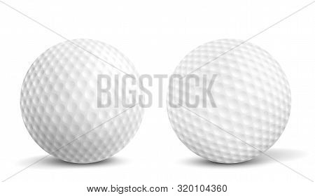 New, Clean Golf Balls With Aerodynamics Dimples Closeup, Front View, 3d Realistic Vector Illustratio