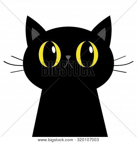 Black Cat Silhouette. Big Yellow Eyes. Moustaches. Cute Cartoon Character. Baby Pet Animal Collectio