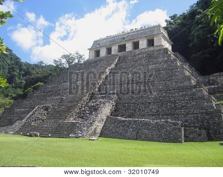 Mexico, Chiapas - Temple of the Inscriptions in *the* classic Maya city of Palenque. The tomb of Pakal, the King of the Chol Maya was found here in 1952, once an abandoned city  in the hot rain forest poster