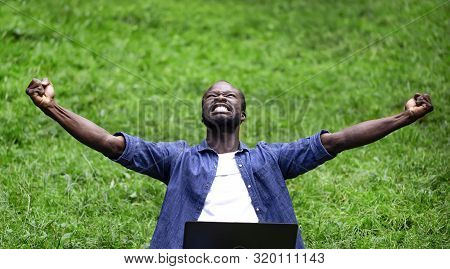 African Student Youngster Can Not Stop Emotions About His Success Outdoor