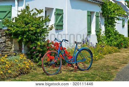 Sunny View In Front Of A Green Window With Shutters Of An Old Farm House, With A Bicycle In Front An