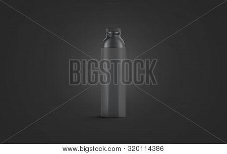Blank Black Water Bottle Mockup, Isolated On Dark Background, 3d Rendering. Empty Beverage Packaging