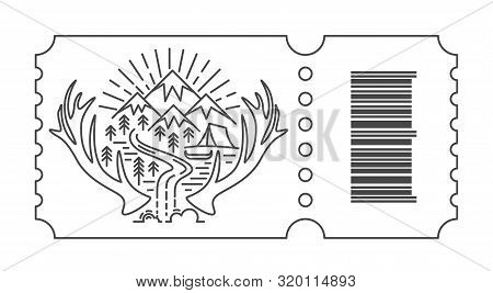 Ticket With Barcode And Sunrise In Mountain. Tourist Tent And River In Linear Style. Camping Accommo