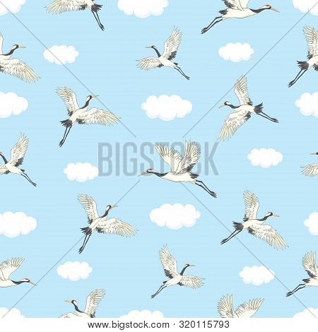Vector Seamless Pattern With Oriental Motifes. Cranes Flying. Flower Blossom.