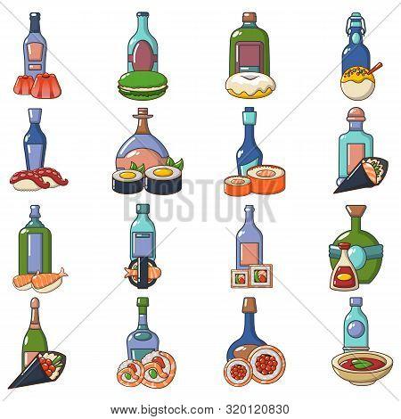 Japanese Booze Icons Set. Cartoon Set Of 16 Japanese Booze Vector Icons For Web Isolated On White Ba