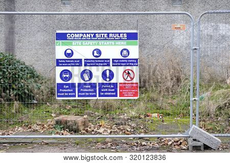 Construction Site Health And Safety Message Rules Sign Board Signage On Fence
