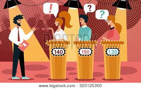 Quiz Show Vector Illustration. Man Game Show Host, Cartoon People Contestant. Television Night Games