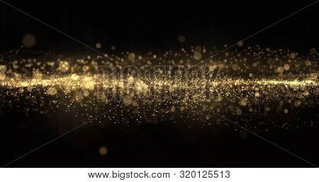 Gold glitter particles wave, light bokeh background, shining gold sparks. Gold glow and shimmering sparkles shine, abstract magic bright sparks in wave motion