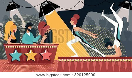 Talent Show Vector Illustration. Cartoon Girls Gymnast Acrobatic Performance. Man Woman in Jury Judge. Sport Dancer, Artistic Gymnastics, Circus Group, CompetitionTelevision Show, Audition Contest poster