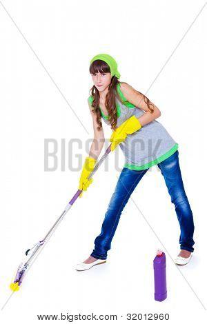 Attractive teen wiping the floor